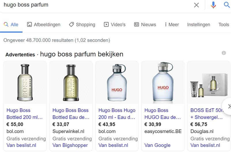 Google Shopping Hugo Boss Voorbeeld - Adminers