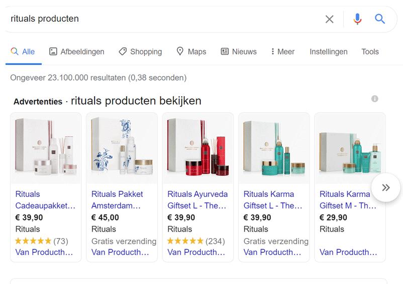 Voorbeeld Google Shopping campagnes Rituals